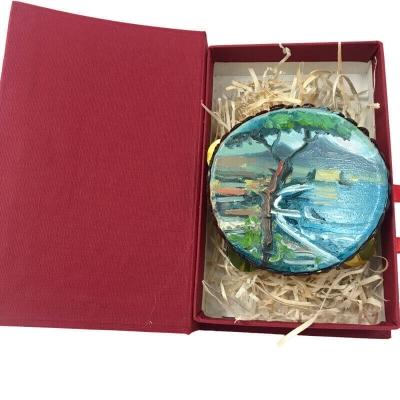 Tamburello da 8 cm con dipinto di Napoli in scatola regalo