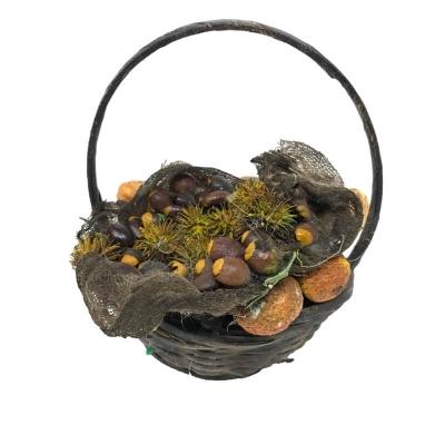 Cestino con funghi e castagne in cera per oggettistica presepe
