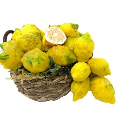 Cesto con limoni di sorrento in cera