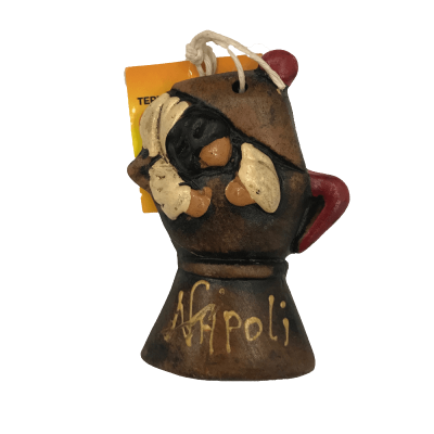 Pulcinella con macchina da caffè in terracotta 10 cm