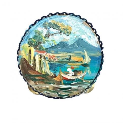 Tamburello con dipinto di Napoli 8 cm