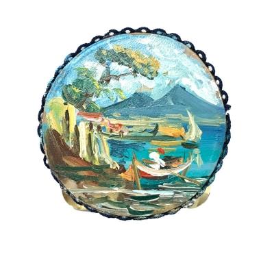 Tamburello in vera pelle con dipinto di Napoli 8 cm