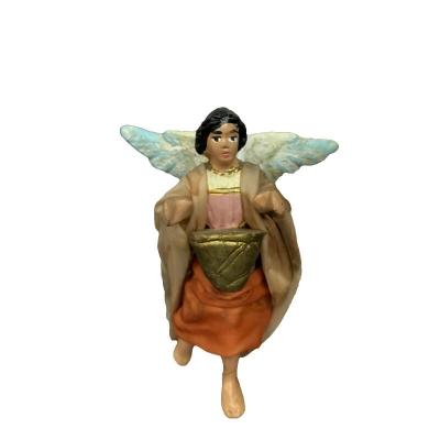 Angelo con tamburo vestito in stoffa 7 cm