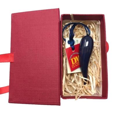 Corno in ceramica blu scuro in scatola da regalo 7 cm