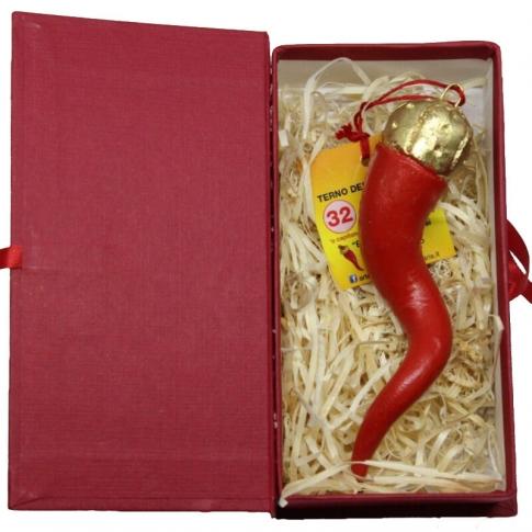 Corno imperiale in terracotta 12 cm con scatola regalo
