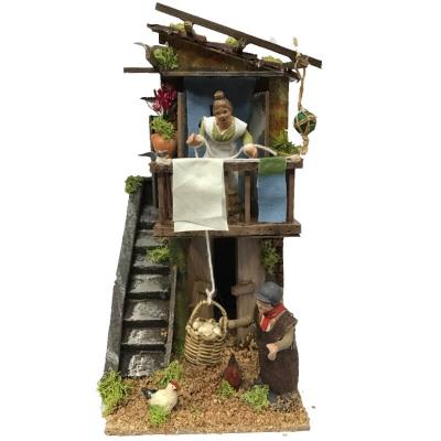 Donna che abbassa il paniere al venditore 7 cm