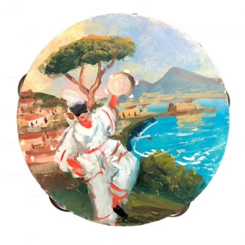 15-Tamburelli con dipinto di Pulcinella 14-16 cm