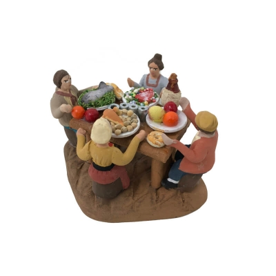4 Pastori a tavola che mangiano 4 cm