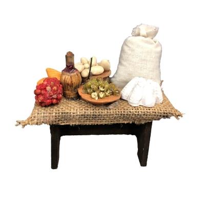 Banchetto con prodotti di campagna per pastori da 10 cm