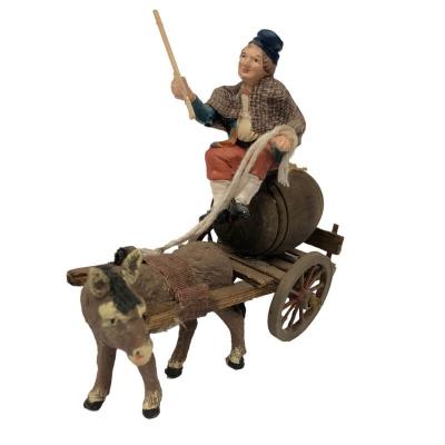 Zi Bacco con asino al carretto che trasporta vino 10 cm