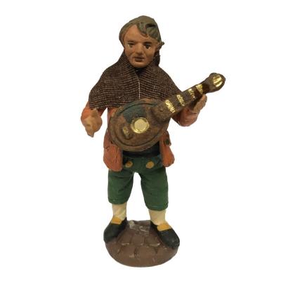 Uomo che suona il mandolino in terracotta 10 cm