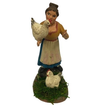 Contadina con galline in terracotta 10 cm