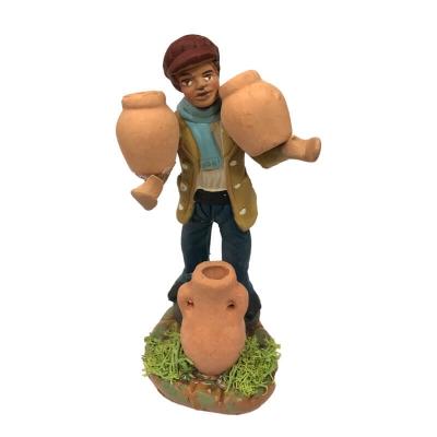 Uomo con anfore che trasporta acqua in terracotta 10 cm
