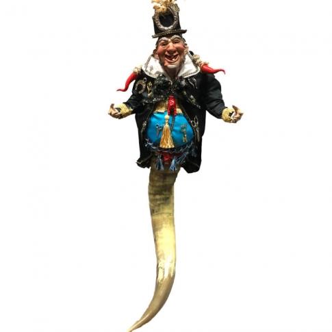 Gobbo scio scio su corno vestito in stoffa e occhi in vetro 75 cm