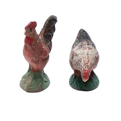 Coppia di galline in terracotta 10 cm