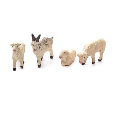 Tris di pecore e capra in terracotta 7 cm