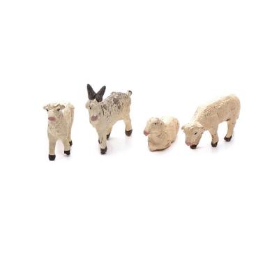 Tris di pecorelle e capretta in terracotta 4 cm