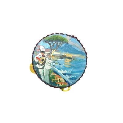 Tamburello con dipinto di Pulcinella miniatura 2.5 cm