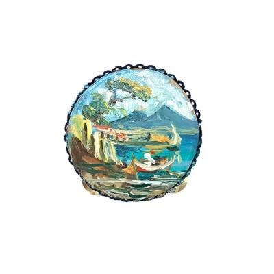 Tamburello dipinto di Napoli miniatura 2.5 cm