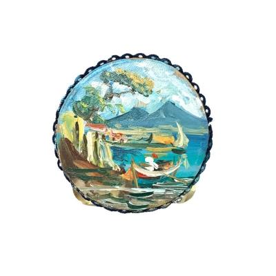 Tamburello con dipinto di Napoli 4.5 cm