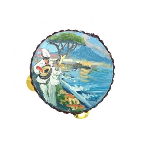 Tamburello con dipinto di Pulcinella 4.5 cm