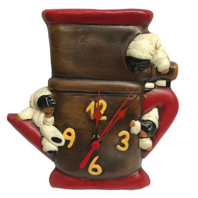 Orologio pulcinella con caffettiera in terracotta 21 cm