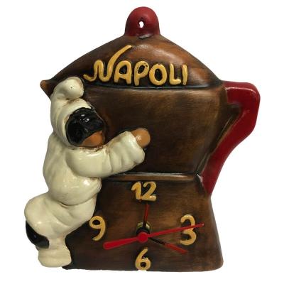 Orologio macinino caffè con pulcinella in terracotta 21 cm