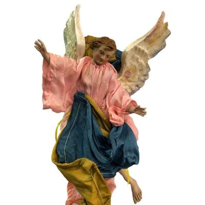 Angelo con vestiti in stoffa per pastori da 25 cm