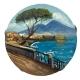 Tamburello con dipinto strada e veduta Napoli 16 cm