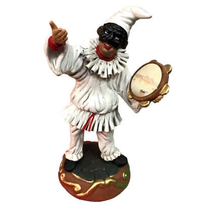 Pulcinella in terracotta con tamburello 25 cm