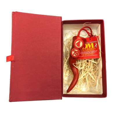Corno tombola in terracotta 9 cm con scatola regalo