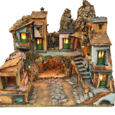 Presepe borgo napoletano con luci 39 cm