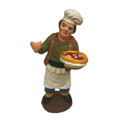 Pizzaiolo con pizza al piatto in terracotta 10 cm