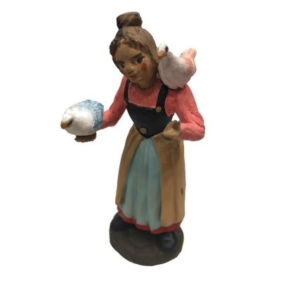 Donna con uccellini in terracotta 10 cm