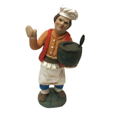 Cuoco con pentola in terracotta 10 cm