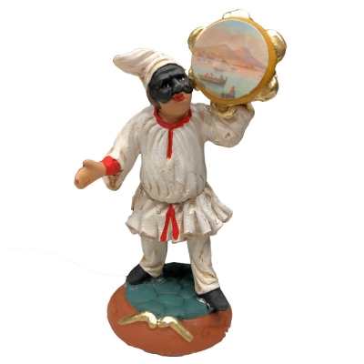 Pulcinella in terracotta con tamburello 7 cm