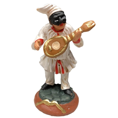 Pulcinella in terracotta con mandolino 7 cm