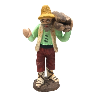 Uomo che trasporta legna in terracotta 7 cm