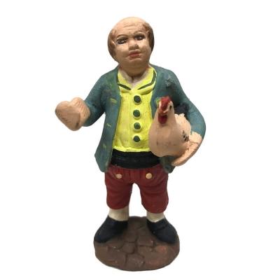 Contadino con gallina in terracotta 7 cm