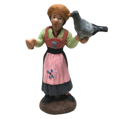 Donna con piccione in terracotta 7 cm