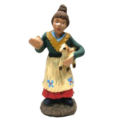 Uomo con pecora in terracotta 7 cm