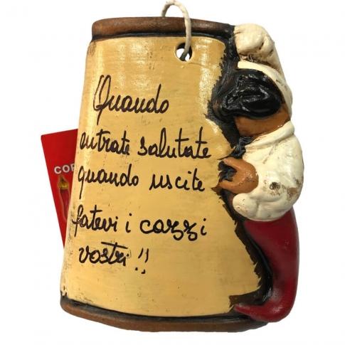 Tegola di Pulcinella con frase fortunata 10 cm