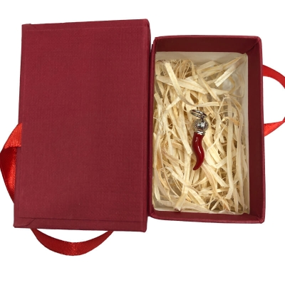 Ciondolo corno borbone in metallo 3 cm con scatola regalo