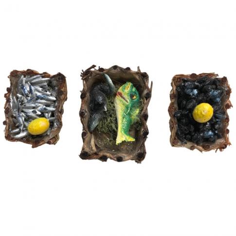 Set da 3 cestini con pesce per pastori da 7 cm