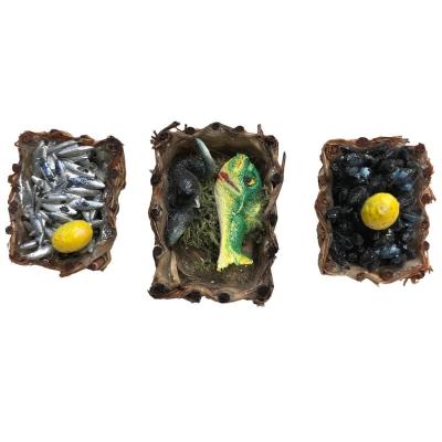 Set da 3 cestini con pesce per pastori da 10 cm