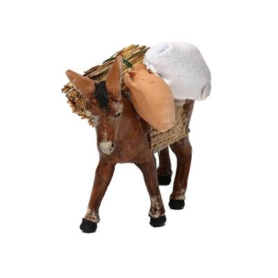 Asino che trasporta sacchi, grano, e anfore in terracotta 10 cm