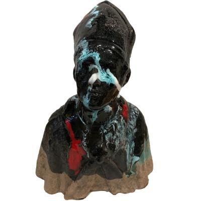 Busto di San Gennaro antico sfumato in ceramica 20 cm