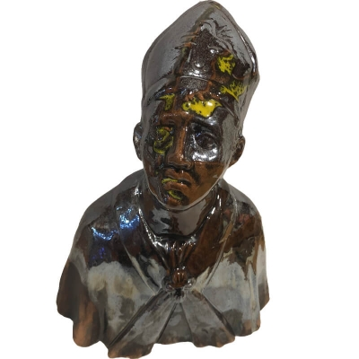 Busto di San Gennaro cromato in ceramica 20 cm