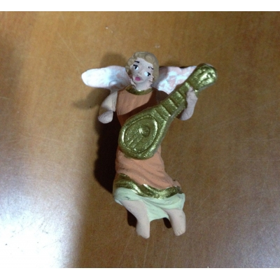 Angelo con mandolino in terracotta 4 cm