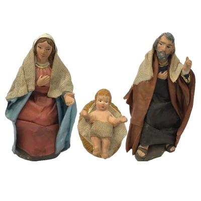 Sacra Famiglia vestita in stoffa 10 cm